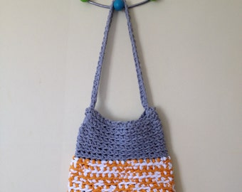 SALE! Crochet Summer Shoulder Bag. Grey and Yellow. Eco Friendly.