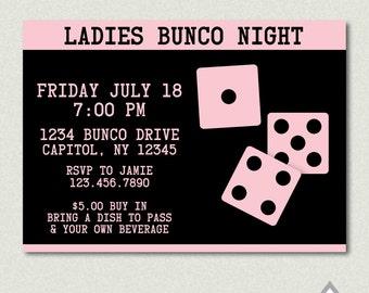 Bunco Invitation, Bunco Party, Bunco Ladies Night, Ladies Bunco Night, Printable Invitation, Printable Invite, Game Night, Dice Invitation
