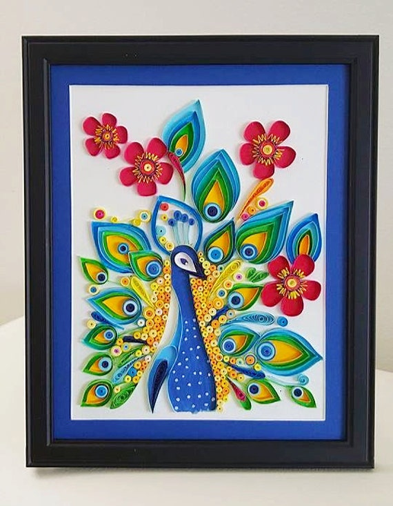 Paper Quilled Peacock bird wall ,home decor, art, painting, print, wall hanging
