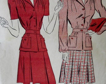 Vintage 1940s Advance Sewing Pattern Misses Two Piece Dress Size 12 Bust 30 Hip 33 #2699 **Epsteam