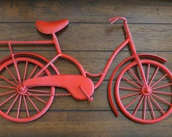 Bike Wall Decor / Apple Red or Pick Color / Bicycle Metal Wall Decor /  Unique Wall Idea / Metal Wall Hanging / Bike Art /Child's Room Decor