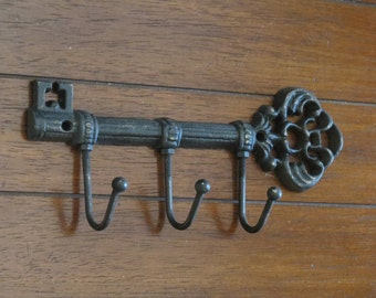 Key Holder / Skeleton Key Rack / Cast Iron Wall Hook / Key Hanger / Foyer Entrance Key Rack / Black or Pick Your Color / Housewarming Gift