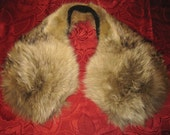 Vintage 1950's - 60's Fluffy Raccoon Fur Pom-Pom Style Wrap Collar for Jacket, Coat, Sweater