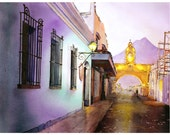 Watercolor painting of Arch of Santa Catalina at sunset in the UNESCO World heritage city of Antigua- Guatemala. Antigua watercolor art