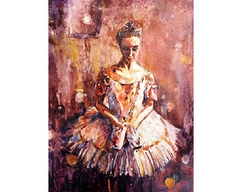 Painting of female ballerina w/ poinet shoes.  Fine art watercolor painting ballerina art print.  Watercolor print fine art ballerina decor
