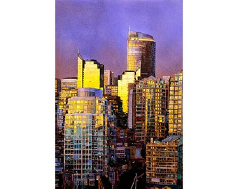 Watercolor painting of skyscrapers of downtown Vancouver, B.C. at sunset.  Vancouver watercolor.  Vancouver photo.  Vancouver painting.