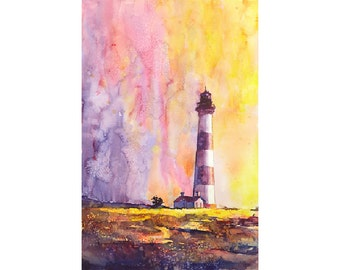 Bodie Island Lighthouse at sunset on North Carolina coast.  NC Lighthouse.  NC Lighthouse art.  Watercolor lighthouse.  Watercolor painting