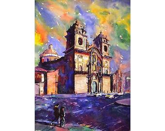 Church on Plaza de Armas in city of Cusco, Peru.  Art Peru watercolor.  Landscape Cusco photograph.  Watercolor painting Cusco.  Art print
