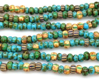 3 Strands Turquoise Mixed Picasso Czech Glass Seed Beads 6/0