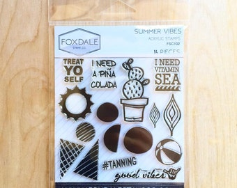 """SALE 20% OFF - Foxdale Stamp Co. """"Summer Vibes"""" Clear Acrylic Stamp Set - 16 Pieces"""