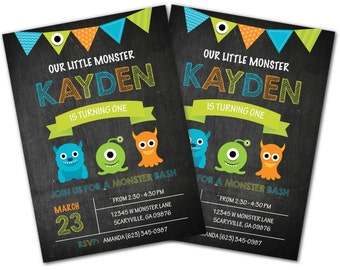Monster Invitation, Little Monster invite, Monster invitation, Monster Invite, Photo invitation, Birthday invitation, Little Monster (2)