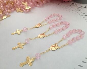 35 baptism favors/ mini rosaries/ pink/ mini Rosarios/ comunnion favors/ recuerdos de bautizo