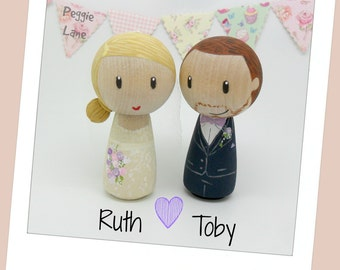 Peg Doll wedding cake topper, bride and groom cake topper, peg doll bride & groom, wedding, Wedding cake topper, Kokeshi wedding cake topper