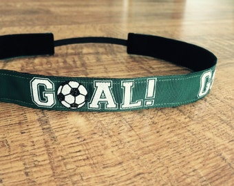 green soccer headband. Soccer headband, women's soccer headband, girls soccer headband, non slip headband, soccer hair accessory. soccer