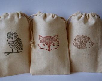 Woodland Owl, Fox & Hedgehog Muslin Favor Bags, Set of 12 of 3 Images (3x5 shown)