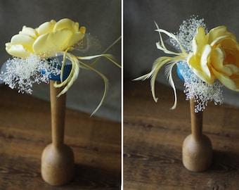 Big flower Bohemian fascinator unique headpiece millinery light yellow bridal vintage inspired hairflower tull polka dots ivory Bohemian