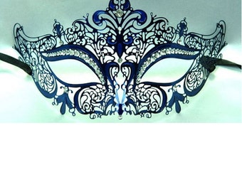 Royal Blue Laser Cut Metal Masquerade Mask with Clear Rhinestones