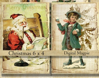 Victorian Christmas digital scrapbook shabby paper printable for instant download aged antique old Christmas vintage Santa 6 x 4 card