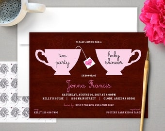 PRINTED INVITATION - Tea Party - Baby Shower Invitation - Custom Invitation - Package of 12 Printed Invites