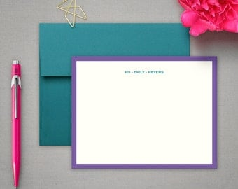 Personalized Stationery - Modern Flat Notecards - Contemporary Stationery Note Cards - Personalized Stationary