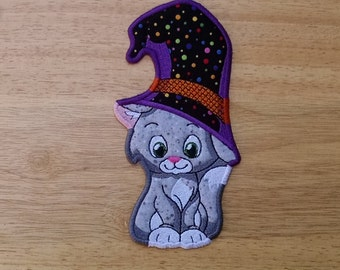 "Embroidered Halloween Cat Bookmark, 6.75"" x 3.5"""
