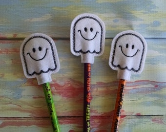 Ghost  Pencil Topper, set of 3, pencil included. Trick or Treat.