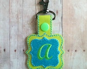 Monogram Snap Key Fob Key Chain, Quatrefoil Shaped, Embroidered on Lime Green and Blue Glitter Vinyl with Snap, Custom Made in USA