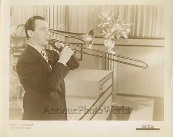 Buddy Morrow jazz trombone player band leader antique music photo