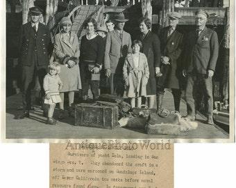 Yacht wreckage survivors antique photo