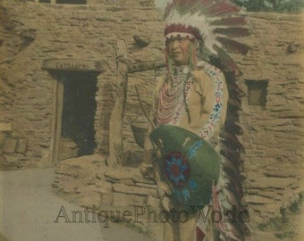 Native American Indian Chief Shaftsbury antique photo