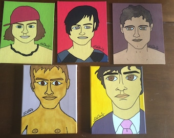 Lot of 5 hand painted Pop animated  folk art Dude portraits different characters oil acrylic on canvas
