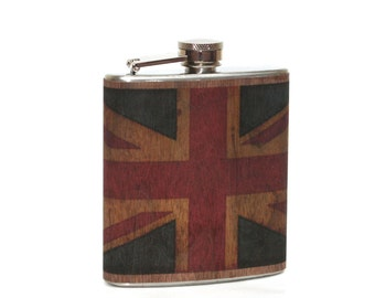 Union Jack flask, Wood flask, United Kingdom flag