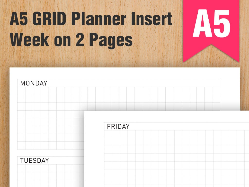 A5 Grid Week On 2 Pages Planner Insert Refill By Maartesouk