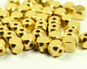 20 Pieces Raw Brass 6x6 mm Square Cube Industrial Bead