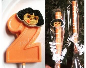 Dora 1 dozen number lollipops and 1 dozen chocolate covered pretzel sticks package
