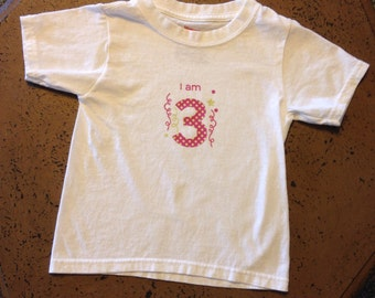 I am 3 - birthday outfit - toddler tee shirt t-shirt OR onesie - birthday girl - 3rd birthday party outfit