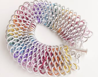 Rainbow chainmail bracelet - Dragon Scale Bracelet - Chainmaille Bracelet - Gay Pride Jewelry - Pride Bracelet - LGBT Pride -LGBTQ Bracelet