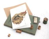 wren greeting card, wren card, the wrens nest card