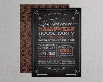 Printable Halloween Invitation - Chalkboard Halloween Invitation