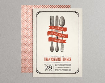 Printable Thanksgiving Invitations - Vintage Thanksgiving Invitation