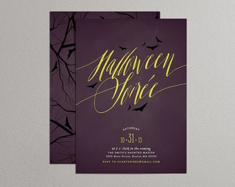 Printable Halloween Invitation - Halloween Soiree Invitation - Halloween Soirée Invitation - Spooky Soirée (Purple)