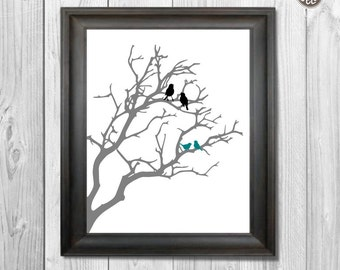 Family Printable wall art decor print, Birds in a Tree print, silhouette branch with birtds digital image, INSTANT DOWNLOAD