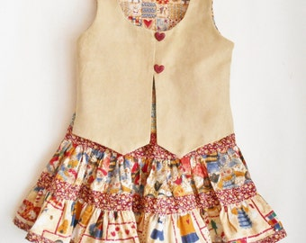 Handmade 3 pc outfit with twirly skirt, lined vest, and red knit shirt country western cowgirl great with cowboy boots