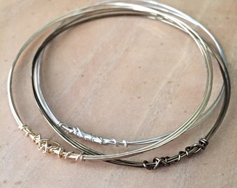 Simple knotted Wire Bangle