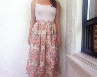 1980s Floral Print Full Skirt