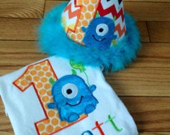 Little Monster Birthday Shirt and hat set