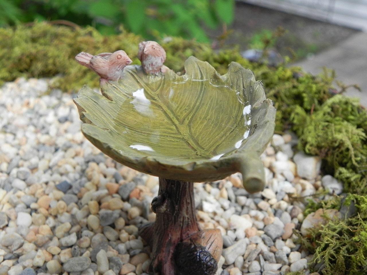 Fairy Garden Accessories Birdbath Leaf With Birds And Water