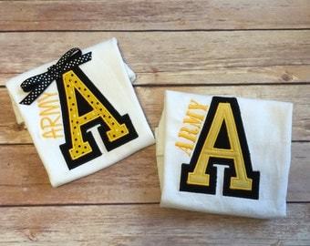 ARMY A Onesie, Bib, and Burp Cloth Set (personalized)
