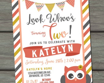 Look Whoo's Owl Birthday Invitation, Owl Birthday Invitation, Look Whoo Invitation, Owl Invitation, Owl Birthday Party, Owls