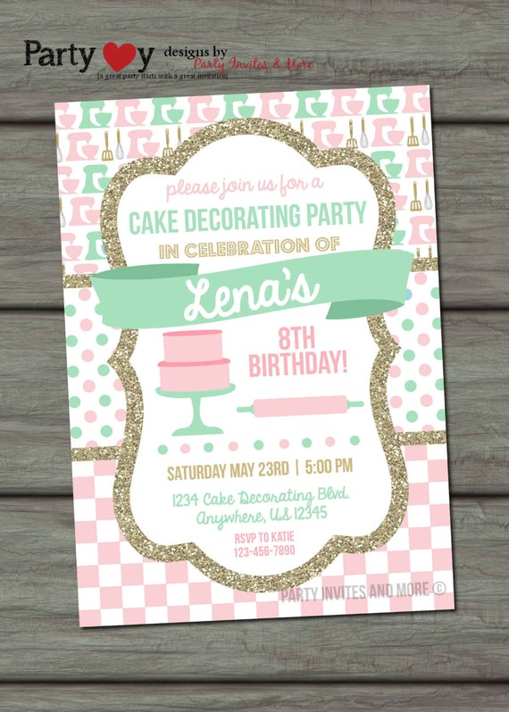 Cake Decorating Birthday Party Invitations : Cake Decorating Birthday Invitation Baking by ...